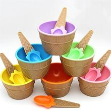 Cute Plastic Cand Color Ice Cream Dessert Bowl And Spoons Ice Cream Cup(China)