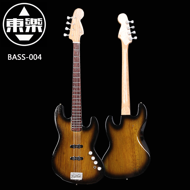 Wooden Handcrafted Miniature Guitar Model Bass-004 Bass Guitar Display with Case and Stand (Not Actual Bass! for Display Only!)<br>