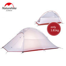 NatureHike tent 1.8kg 3 Person 20D Silicone Fabric Double-layer Camping Tents NH Outdoor Tent ultralight 210T Plaid Fabric Tent(China)