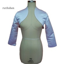 ruthshen New Bridal Satin Jacket Wrap Wedding Shrug Long Sleeve Bolero DS0608(China)