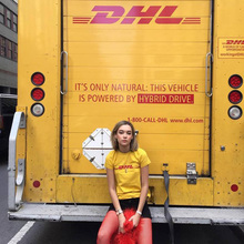 2017 Summer New Brand Paris Fashion Transport DHL T Shirts Women Men Short Sleeve Cotton Tops Letter Yellow Tee B0003