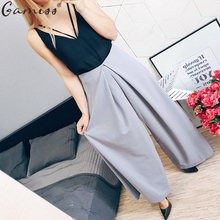 Gamiss Fashion Women Quality Long wide leg Zipper Fly waist pants casual pants top straight pants loose Chiffon trouser Bloomers