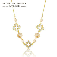 Neoglory  Austrian Crystal 2017 Fashion Chain Necklaces Brand Charm Designer Light Yellow Gold Color Jewellery  QC