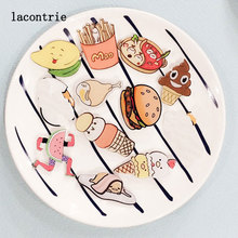 1 PCS Delicious Food Shaped Badges Series 2 Free Shipping  Cartoon Food Icons Acrylic Pin Badge Backpack Decoration Pins