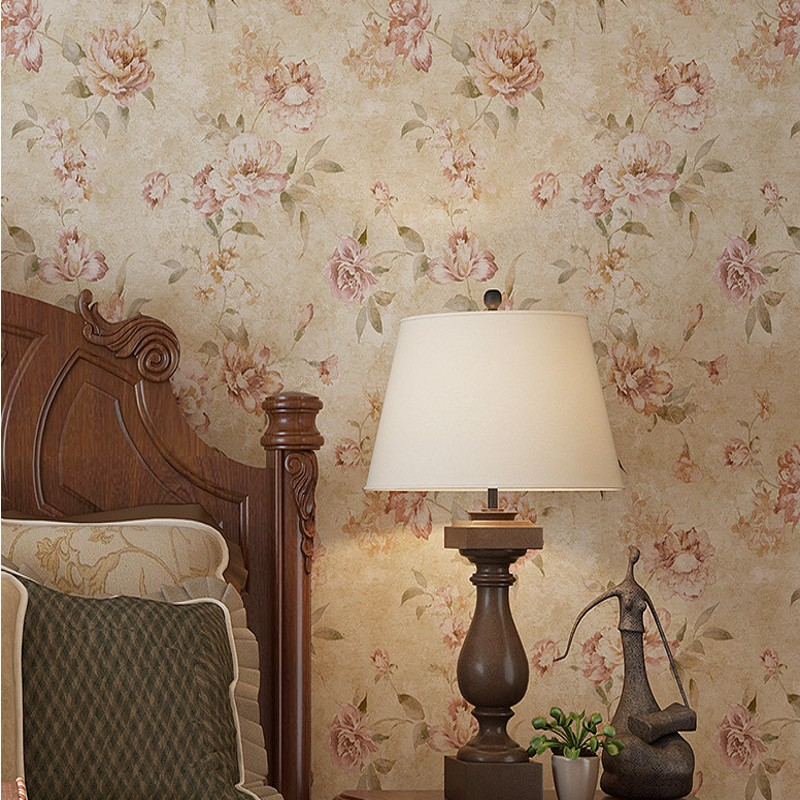 Free Shipping Exquisite nostalgic garden scenery flower wallpaper guest room hotel balcony background decoration wallpaper<br>