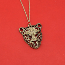 "[$4 Minimum]2017 New Women Fashion Jewelry Vintage Tone Hollow Out Tiger Pendant 32"" Chain Long Necklace EF47 Wholesale"