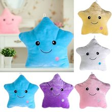 Battery Powered Colorful Star Glow LED Luminous Light Pillow Cushion Home Decorative Flashing Light Plush Smiling Star Cushion(China)