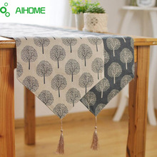 AIHOME New Modern Style Linen Cotton Table Runner Irregular Decoration Plant Printed Cloth Table Runners With Tassel(China)