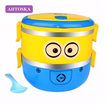 AHTOSKA Two Layers Stainless Steel Thermal Lunch Boxes Hot Food Containers Cute Children's Lunch Boxes(China)
