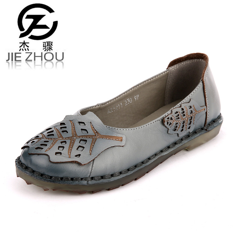2017 new womens shoes Flats non-slip Genuine leather Big size 40 41 Female shoes casual mother shoes obuv zapatos mujer <br>