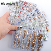 Hisenlee 18 Colors SS3-SS10 Small Sizes Nails Art Crystal Glass Rhinestones For Nails 3D Nail Art Decoration Gems(China)