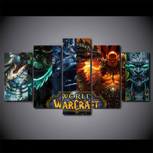 Hot Sale HD 5 piece canvas art Printed world warcraft game painting room decoration wholesale drop shipping