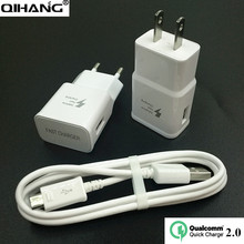 QIHANG Quick Charger QC2.0 Wall Fast USB Charger+Free Micro USB Cable EU US Plug For Samsung Galaxy S7 S6 Edge Note 4 Xiaomi LG