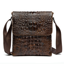 New Men Crocodile lines Genuine Leather First layer Cowhide Retro Business Crossbody Shoulder Bag travel Leisure bags