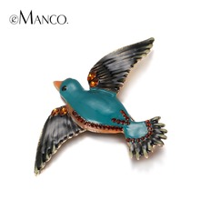 eManco Trendy Lampwork Crafts Cute Enamel Birds Brooches for Women Crystal Fashion Jewelry & Clothing Accessories