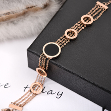 YUN RUO Elegant Black Round Bracelet Woman Chain Girl Gift Rose Gold Color Fashion Stainless Steel Jewelry Never Fade Wholesale(China)