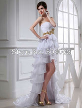 Free Shipping Chiffon Layers Short Front Long Back Wedding Dress With Gold Applique Sequined
