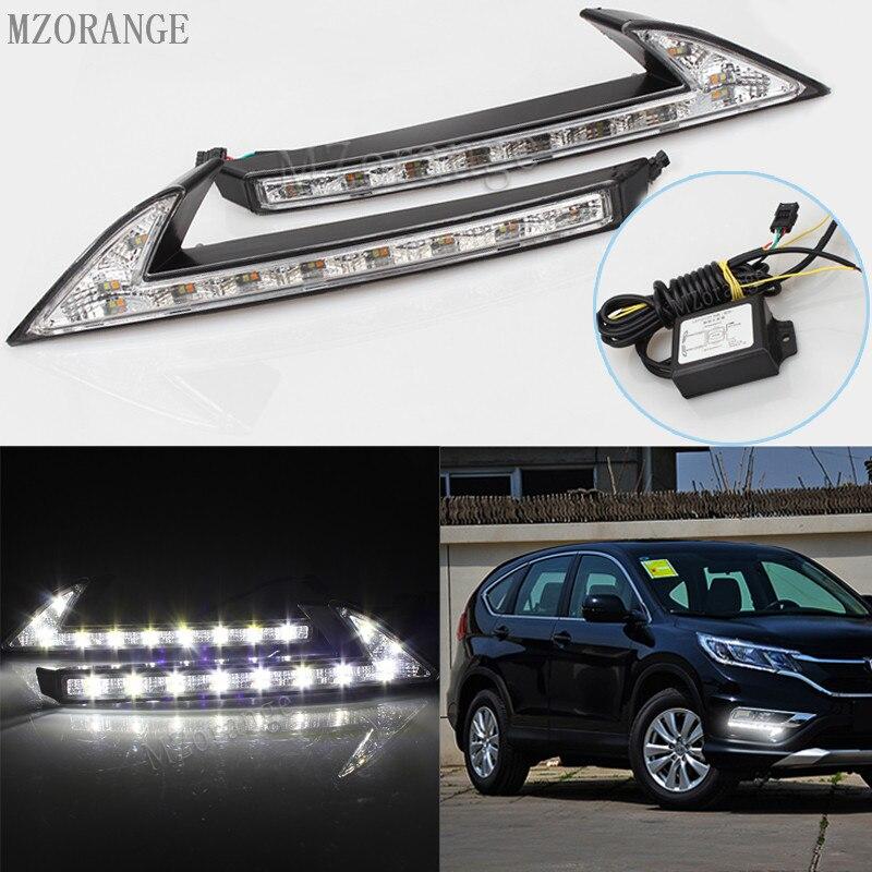 MZORANGE 1 Set White/Yellow LED DRL Daytime Running Light Front Fog Lamp Daylight For Honda CRV CR-V 2015 2016 car styling<br>