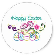 3.8cm Happy Easter Glitter Eggs & Floral Classic Round Sticker