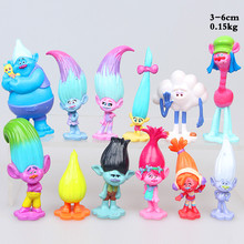 12Pcs/Set Movie Trolls 2inch Height Figures Toys Cake Topper PVC Action Figures Trolls Kids Birthday Gift Children Funny Toys(China)