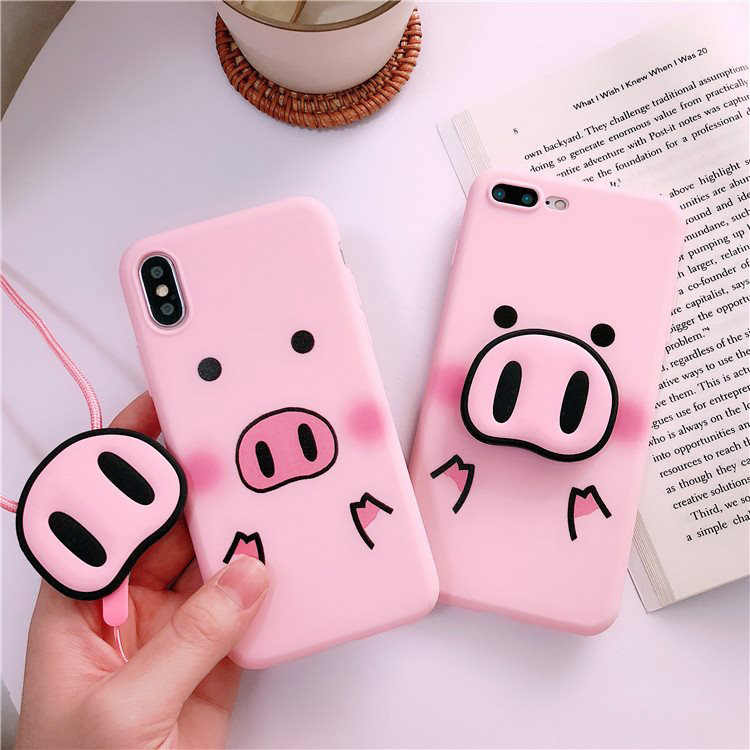 For iPhone Xs Max Xs 7 8Plus For Samsung S10 S8 S9 Note 8 9 A7 A8 J4 J6 Case Pig TPU Case Pig Nose Soft Phone Strap Rope Case