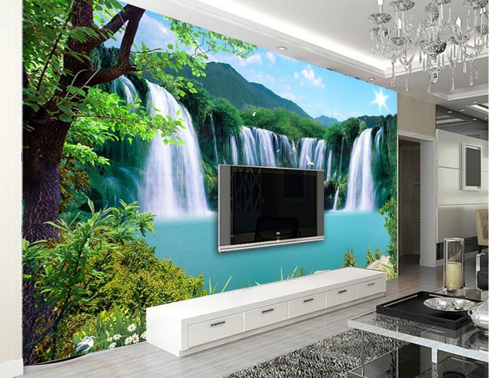 Custom 3d landscape wallpaper for walls 3 d photo Waterfall landscape landscape wall TV backdrop nonwoven 3d mural wallpaper <br>