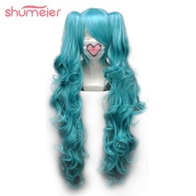 Shumeier 3Colors Long Curly Double Ponytail Synthetic Hair Cosplay Wigs Blue/Pink Colors