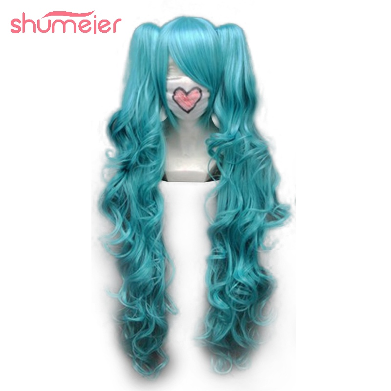 Shumeier 3Colors Long Curly Double Ponytail Synthetic Hair Cosplay Wigs Blue/Pink Colors(China (Mainland))