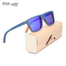 POP AGE Blue Mirror Sunglasses Men Skateboard Wood Sun Glasses Brand Male Eyewear Mirror Polaroid Wooden Shades Designer Oculos