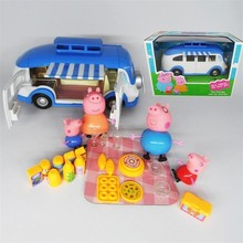 Pig Toys Playgrounds Set Series Ferris wheel Car Slides Swing Juguetes Pig Family Toy Action Figures Kid Boys girls Gift