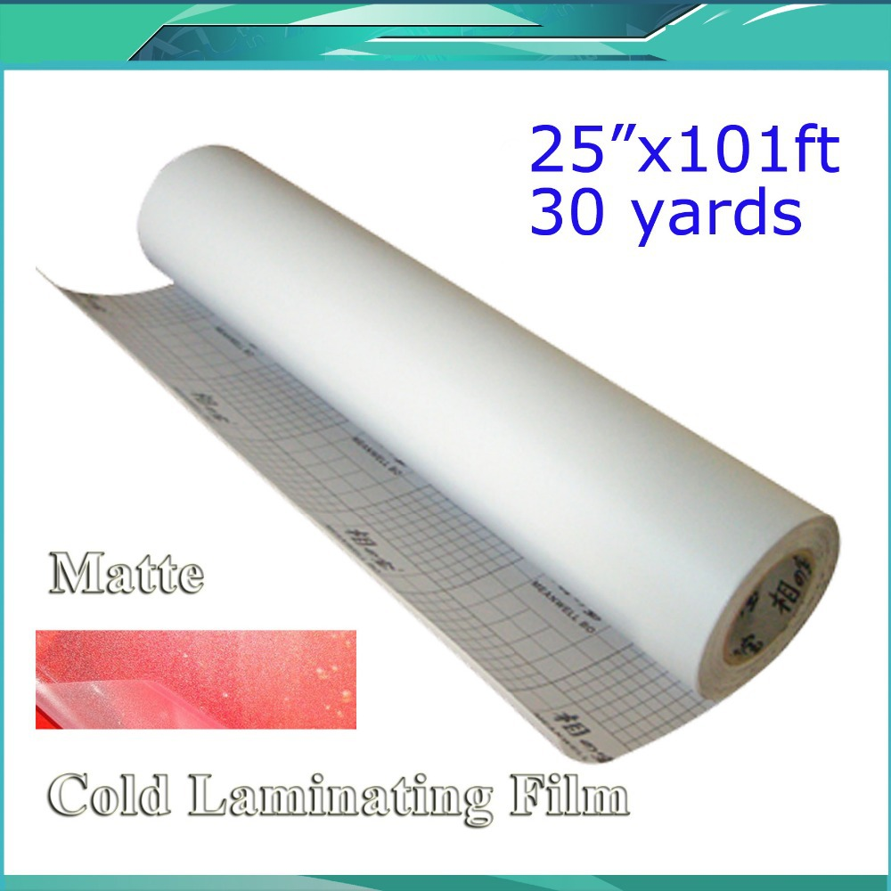 25X101 One Roll Matte Frosted Dull Cold Laminating Film for Laminator Mounting Vinyl<br>