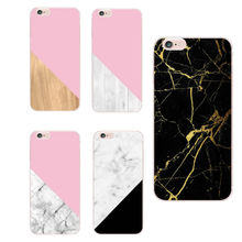 For Apple iPhone 6S 6Plus 7Plus 7 8 8Plus X Samsung Galaxy Chic Marble Wood Texture Soft Clear Transparent TPU Printed Case(China)