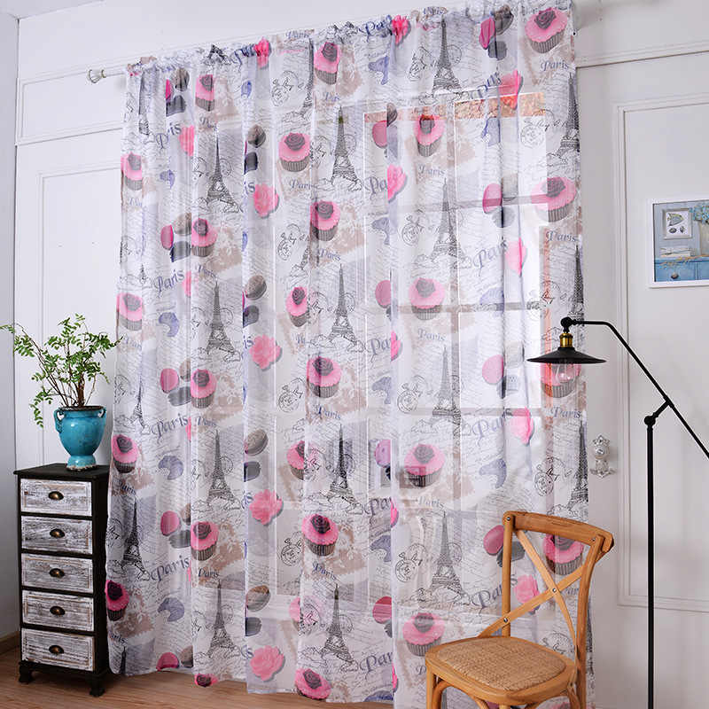 2018 sheer tulle curtains for bedroom rideaux rose cake window Curtains for Living Room kitchen curtains Kitchen tulles 1pc