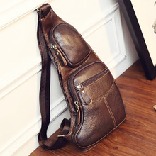 New Men Genuine Leather Cowhide Vintage Sling Single Chest Back Day Pack Travel Famous Casual Cross Body Messenger Shoulder Bag