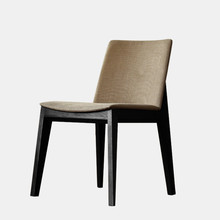 Modern Dining Chair Fabric Upholstery Cushion Seat Solid Ash Wood Dining Room Furniture Mid Century Accent Side Chair Wooden
