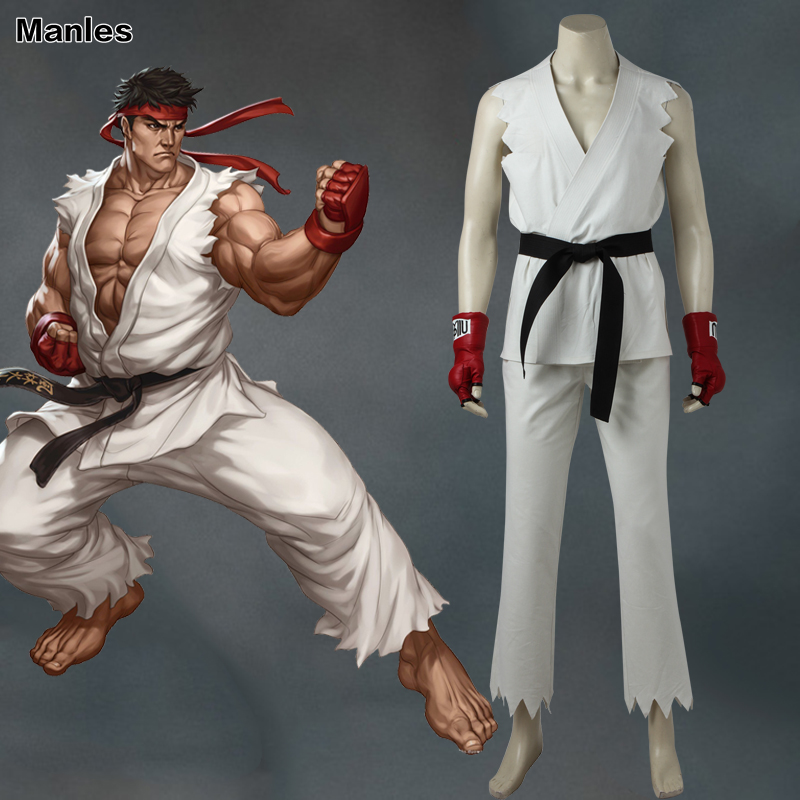 Street Fighter V Ryu Cosplay Costume Hot Game Uniform Halloween Carnival Outfit New Year Clothes White Top Pants Adult Men Set