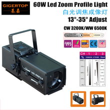 2017 NEW 60W Warm White  Led Image Spot Light New White Effect Led Ellipsoidal Stage Light 90V-240V Heat Pipe Cooling System