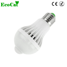 ECO CAT LED Lamp E27 bulb LED 5W 7W 9W 220V PIR Motion Sensor LED Bulb Lights Auto Smart Control Led Bulbs Home Lighting(China)