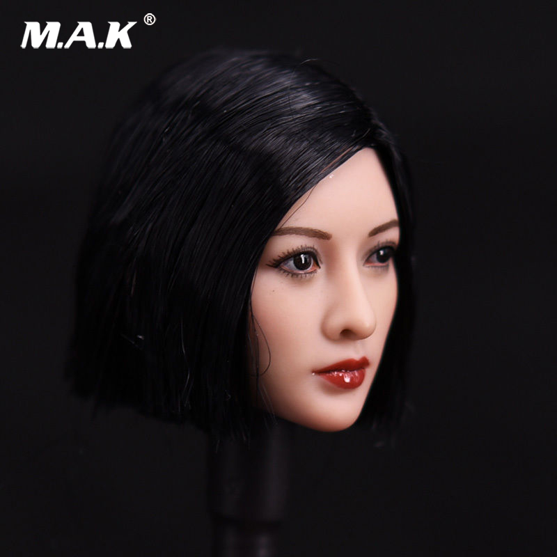 1/6 Short Asian Black Wig short hair Head Sculpt Model For 12 Female JIAOUDO TBleague Pale Seamless Body<br>