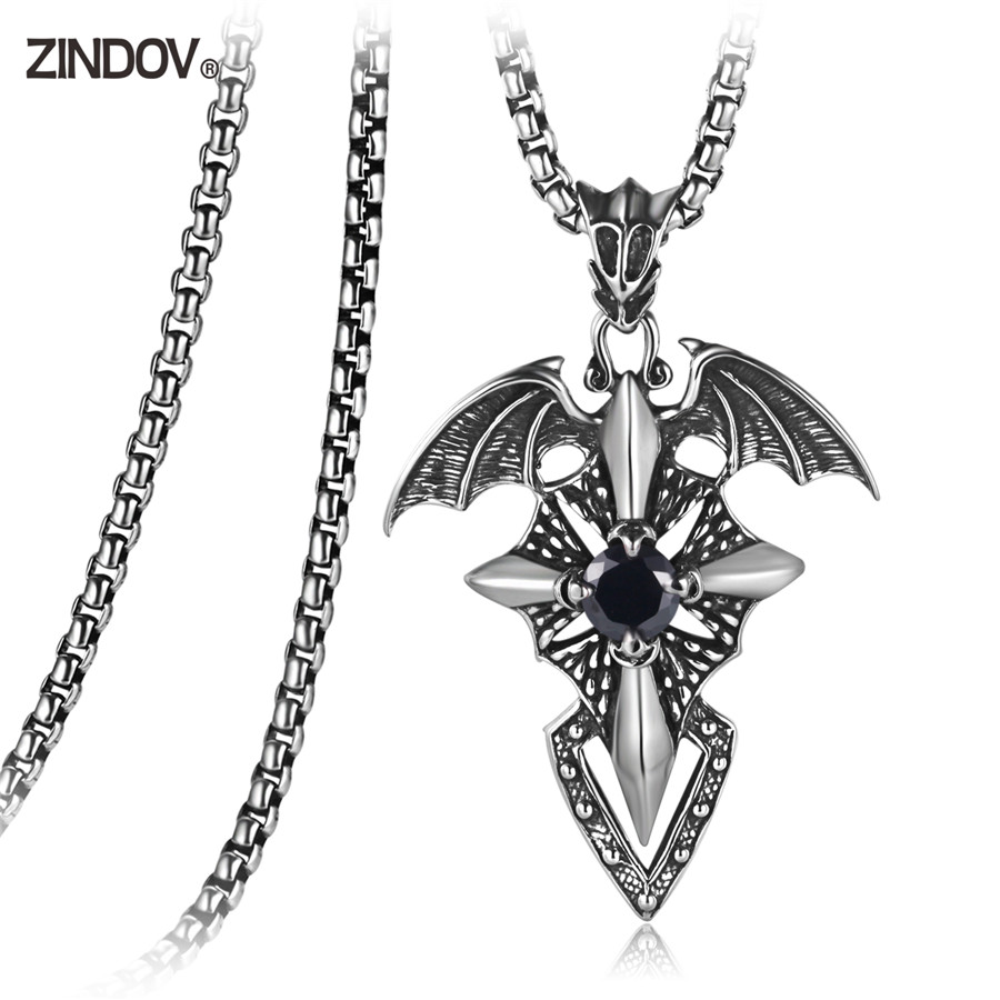 316L Stainless Steel Pendants Necklaces For Men Punk Jewelry Flying Dragon With CZ Stone Black Red Male Necklace Pendant On Sale(China)