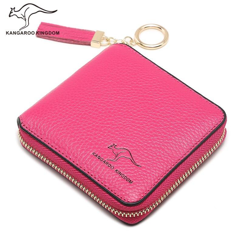 KANGAROO KINGDOM fashion genuine leather women wallets small zipper tassel wallet card holder<br>