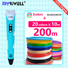 myriwell 3d pen 3d pens ABS/PLA Filament LED display 3 d pen 3d model Creative doodler pen Children gifts 3d drawing pen-3d(China)