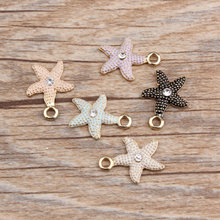 50PCS 14*18mm Sea Star Oil Drop Alloy Bracelet Charms Gold Tone Metal DIY Jewelry Findings Phone Chain Necklace Pendants