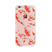 2107 Fashion japan cartoon cherry flower lucky cat bells pet koi fish crystal clear soft tpu case cover skin For Iphone