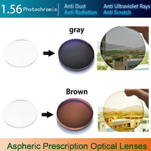 1.56 Aspheric Photochromic Single Vision Prescription Optical Spectacles Lenses myopia with Fast Color Change Performance