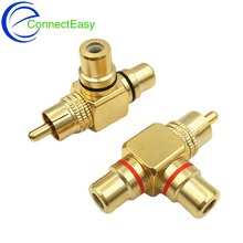 2Pcs High Quality Gold Plated RCA Male to 2 Female RCA Splitter Adapter AV Video Audio T Plug RCA 3 way Plug