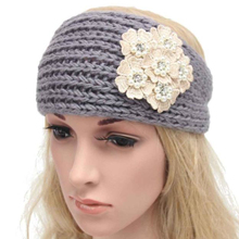 Newly Design Women Autumn Fall Winter Knit Wool Button Headbands Pearl Flowers Decal Hair Band Head Wrap 160804