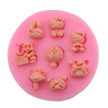 Cartoon Hello kitty Doraemon Totoro  Silicone Fondant Soap 3D Cake Mold Cupcake Candy Chocolate Decoration Baking Tool FQ1832