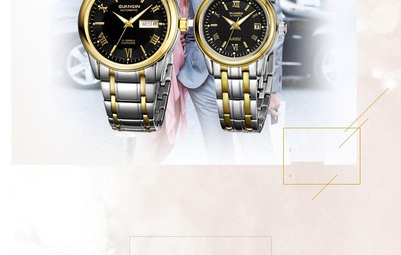 1 Pair GUANQIN Lovers Mechanical Watches Couple Automatic Watch Men Women Clock Auto Date Luminous Waterproof Brand Watch Men (15)