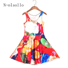 2015 the new arrived 3D printed colorful Sugar candy sexy party dress women's summer clothing casual plated O neck skater dress